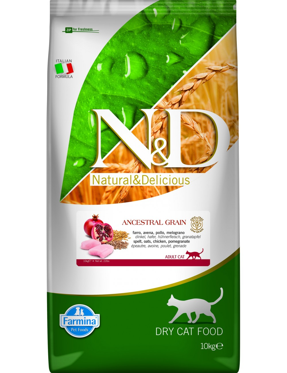 N&D Bajo en Cereales Pollo & Granada Gatos 10kg